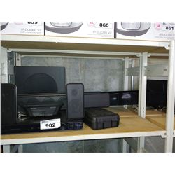 SHELF INCLUDING PHILIPS SOUND SYSTEM, TOWER SPEAKERS, WAHL SHAVER AND MORE