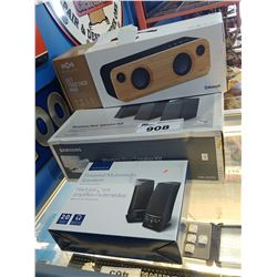 3 SPEAKERS (MARLEY, SAMSUNG AND INSIGNIA)