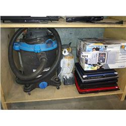 SHELF INCLUDING MASTERVAC, CD SYSTEM, OWL DECOY AND STACK OF LAPTOPS (NO HARD DRIVES)