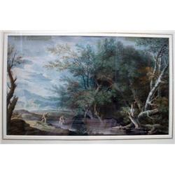 George Robertson (1748-1788)  watercolour,  Mercury and The Woodman,  9.5 x 15.5 ins.
