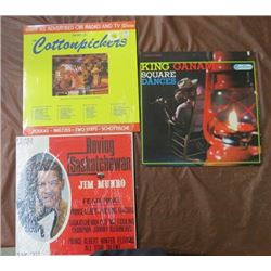 LOT OF 3 SASKATCHEWAN LP ALBUMS (COTTON PICKERS, JIM MUNROE, KING CANAM) *IN SLEEVES W/PLASTIC*