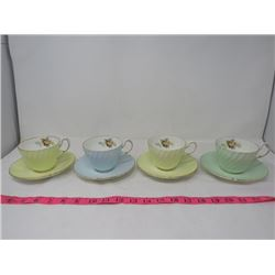 TEA CUPS & PLATES *FINE BONE CHINA* (HAND NUMBERED) *SET OF 4*
