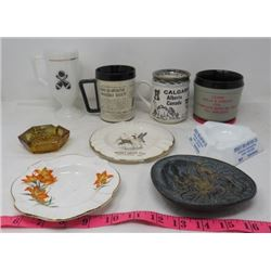 LOT OF 9 ASHTRAY & MUG COLLECTION (KOPPANGS) *SPERLES TIRE, PRARIE LILY, CALGARY, ALBERTA BOWLING ,