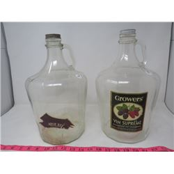 2 WINE JUGS (1 GAL.) *GROWERS VIN SUPREME & AURE SEJOUR*