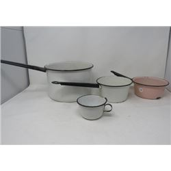 LOT OF 4 ENAMEL WEAR (3 POTS & 1 CUP)