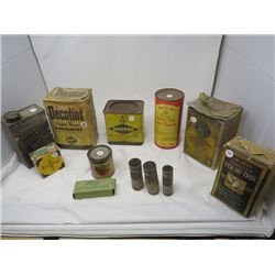 LOT OF 12 FARM CHEMICAL CONTAINERS *IN WOODEN BOX*