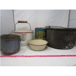 POTS & PANS (ENAMELWARE & ALUMINUM)