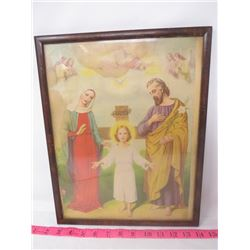 RELIGIOUS PICTURE (WOOD & GLASS FRAME) *VINTAGE*