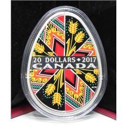 2017 $20 DOLLAR SILVER COIN (TRADITIONAL PYSANKA) * 2017 RETAIL $200)