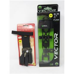 LOT OF 2 ARROW QUIVERS, VICTOR *4'* ALLEN ARCHERY GLOVE (XL)