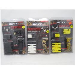 LOT OF 3  ARCHERY ACCESSORIES 'HOYT' CUSTOM 10 PC ACCESSORY KIT