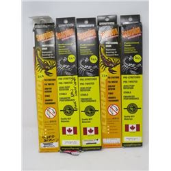 LOT OF 5 HUNTING ACCESSORIES (SCORPION STRINGS) *33 7/8  TO 82 3/8 * (1 PKG USED)