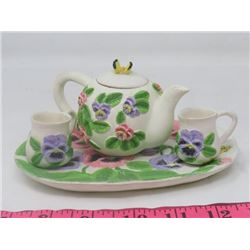 TEA POT, CREAM/SUGAR/PLATTER (TEAPOT W/CLOCK)