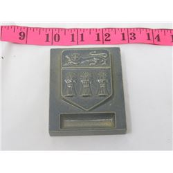 CLAY PAPER WEIGHT (SASKATCHEWAN COAT OF ARMS)