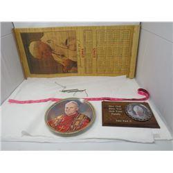 POPE JOHN PAUL II MEMORBILLIA (CALENDAR, PLATE, PLAQUE