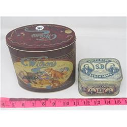 2 TINS (WILSON THREAD, SMITH BROS. COUGH DROP)