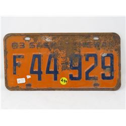 1963 SASKATCHWAN FARM LICENSE PLATE