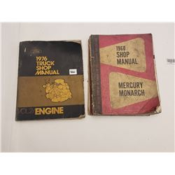 """2 SHOP MANNUALS (""""1976 FORD TRUCK"""" & """"1960 MERCURY MONARCH"""" *FRONT COVER TORN*)"""