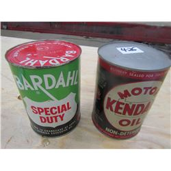 OIL TINS *FULL* (QTY 2) *BARDAHL & KENDALL*