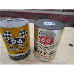OIL TINS *FULL* *FULL* (PHILLIPS 66 & DA SPEEDSPORT) *QTY 2*