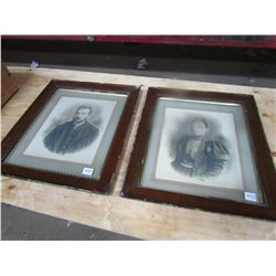 LOT OF 2 PHOTOS IN FRAME (19.5X23 FRAME 12X14 INCH PHOTOS) *VERY OLD*