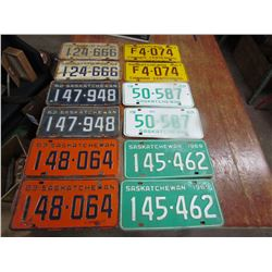 LOT OF 6 SETS LICENCE PLATES (1961-62-63-67-68-69) *SASK* (QTY 12)
