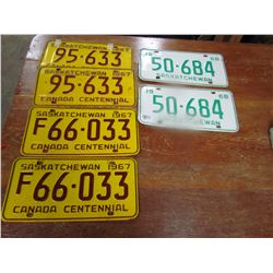 LOT OF 3 SETS OF LICENCE PLATES (4-1967 & 2-1968)