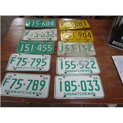 LOT OF 10 LICENCE PLATES (1960'S)