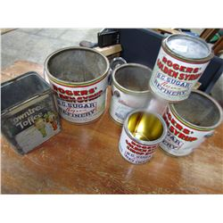 LOT OF 5 SYRUP TINS PLUS 1 COFFEE TIN