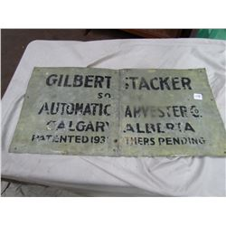 "TIN SIGN (GILBERT STACKER) *AUTOMATIC HARVESTER COMPANY 1936 - CALGARY, AB* (30"" X 15"")"