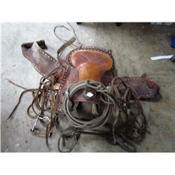LOT OF 4 (SADDLE, 2 BRIDLES, HALTER, LARIATE) *SOLD AS IS - NO STIRRUPS*