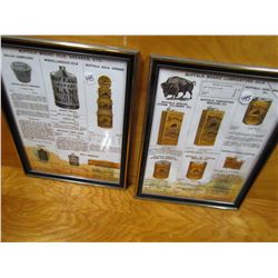 "LOT OF 2 DISPLAY ADS (BUFFALO OILS) *9.5"" X 12""* (NOT OLD, BUT NICE) *1 W/BROKE GLASS*"