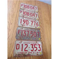 "LOT OF 2 1973 SASKATCHEWAN ""RCMP"" LICENCE PLATES"