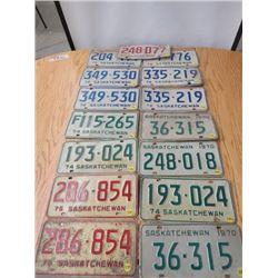 LOT OF 10 ASSORTED SASKATCHEWAN LICENCE PLATES (1970-1976)
