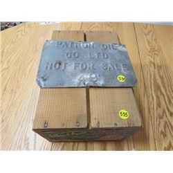 WOOD MANDARIN ORANGE BOX & STEEL PLATE