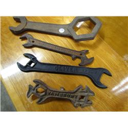 LOT OF 4 TRACTOR WRENCHES (OLIVER, VANBRUNT, P&O COMPANY, CANTON, IL, ETC)