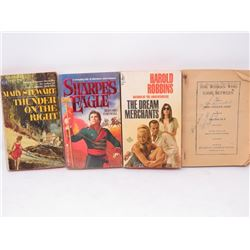 POCKET NOVELS (QTY 4) *HAROLD ROBBINS, MARY STEWART, MISS CAROLINE HART, ETC*