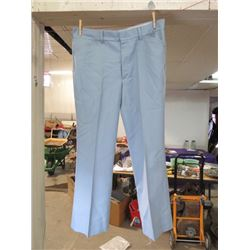 "MENS SLACKS (FARAH) *BLUE FORTREL* (W 38"" L 30.5"")"