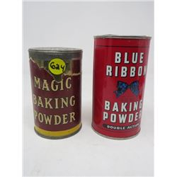 2 BAKING POWDER TINS *BLUE RIBBON & MAGIC*