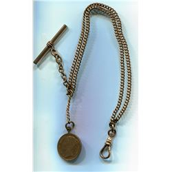 GOLD CHAIN (7C 500?) FOR POCKET WATCH (LATE 1800s) *W/ QUEEN VICTORIA TOKEN FOB*