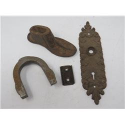 LOT OF 3 (SHOE LASS, HORSE SHOE & CAST DOOR PLATE)