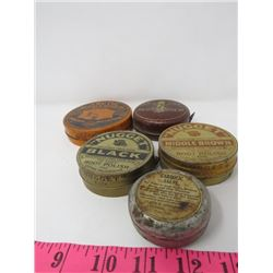 LOT OF SHOE SHINE TINS (NUGGET, ARCTIC, CAROLIC, OX BLOOD)