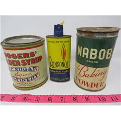 LOT OF 3 TINS (ROGER'S SYRUP - 2LBS, NABOB BAKING POWDER, RONSONOL LIGHTER FUEL)