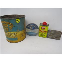 LOT OF 4 TINS (RAWLEIGH, SOLID BRILLIANTINE, SASK HONEY, GOOF OFF)