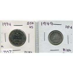 1994 USA 25 CENT PC & 1949 CNDN 10 CENT PC