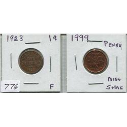 1923 CNDN 1 CENT PC & 1999 CNDN 1 CENT PC