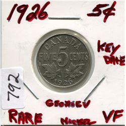 1926 CNDN 5 CENT PC *RARE* (SILVER)