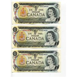 LOT OF 3 1973 CNDN 1 DOLLAR NOTES