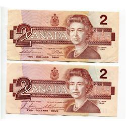 LOT OF 2 1986 CNDN 2 DOLLAR NOTES