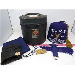 ELKS CANADA HAT & HAT BOX (W/TIE CLIP, 2 BAGS & TASEL; MEDICINE HAT)